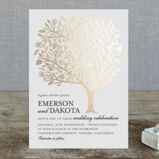 Golden Tree Foil Wedding Invitations by Griffinbell Paper Co.