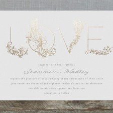 Love Floral Sketch Foil Wedding Invitations by Phrosne Ras