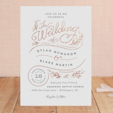 Whimsical Botanical Foil Wedding Invitations by Jennifer Wick