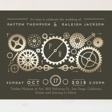 Steampunk Foil Wedding Invitations by Katie Zimpel