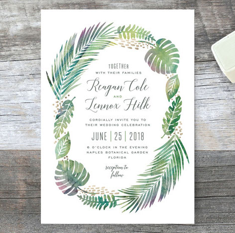 tropical foliage wedding invitations by hooray creative