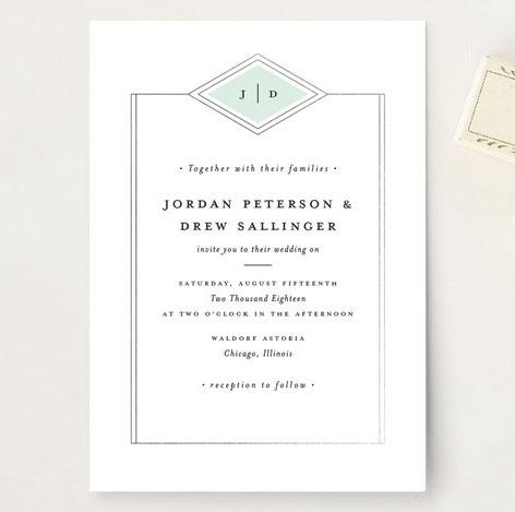 elegant modern wedding invitations by stacey meacham