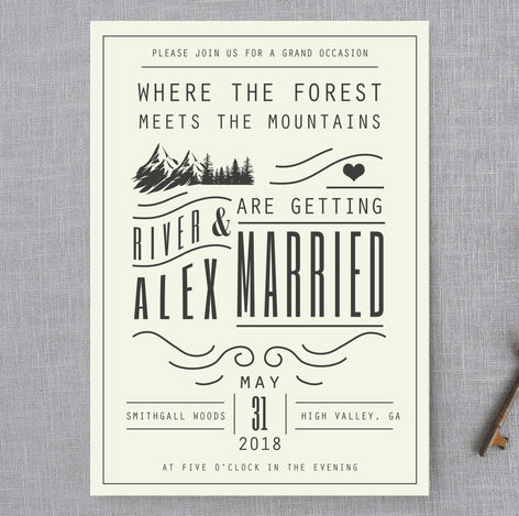mountain wedding invitations by hannah williams