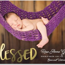 Baby Blessings Foil Stamped Birth Announcements by Hello Little One