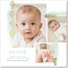 Multi-Photo Foil Stamped Birth Announcements by Lady Jae Designs