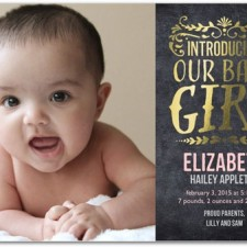 Chalkboard Foil Stamped Birth Announcements by Hello Little One
