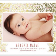 Floral Foil Stamped Birth Announcements by Elk Design