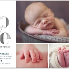 Love Multi-Photo Foil Stamped Birth Announcements by Magnolia Press