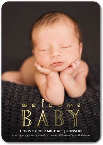 Welcome Baby Foil Stamped Birth Announcements by Petite Alma
