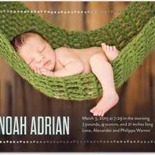Dotted Frame Foil Stamped Birth Announcements by Eleanor