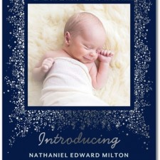 Night Sky Foil Stamped Birth Announcements by Petite Alma