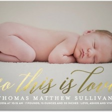 This Is Love Foil Stamped Birth Announcements by Hello Little One