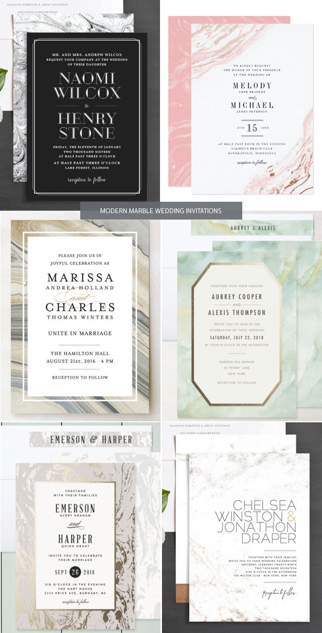 Modern Marble Wedding Invitations