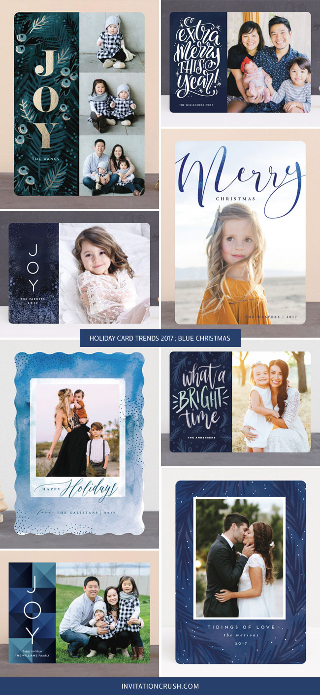 Holiday Card Trends 2017 : Blue Christmas Cards