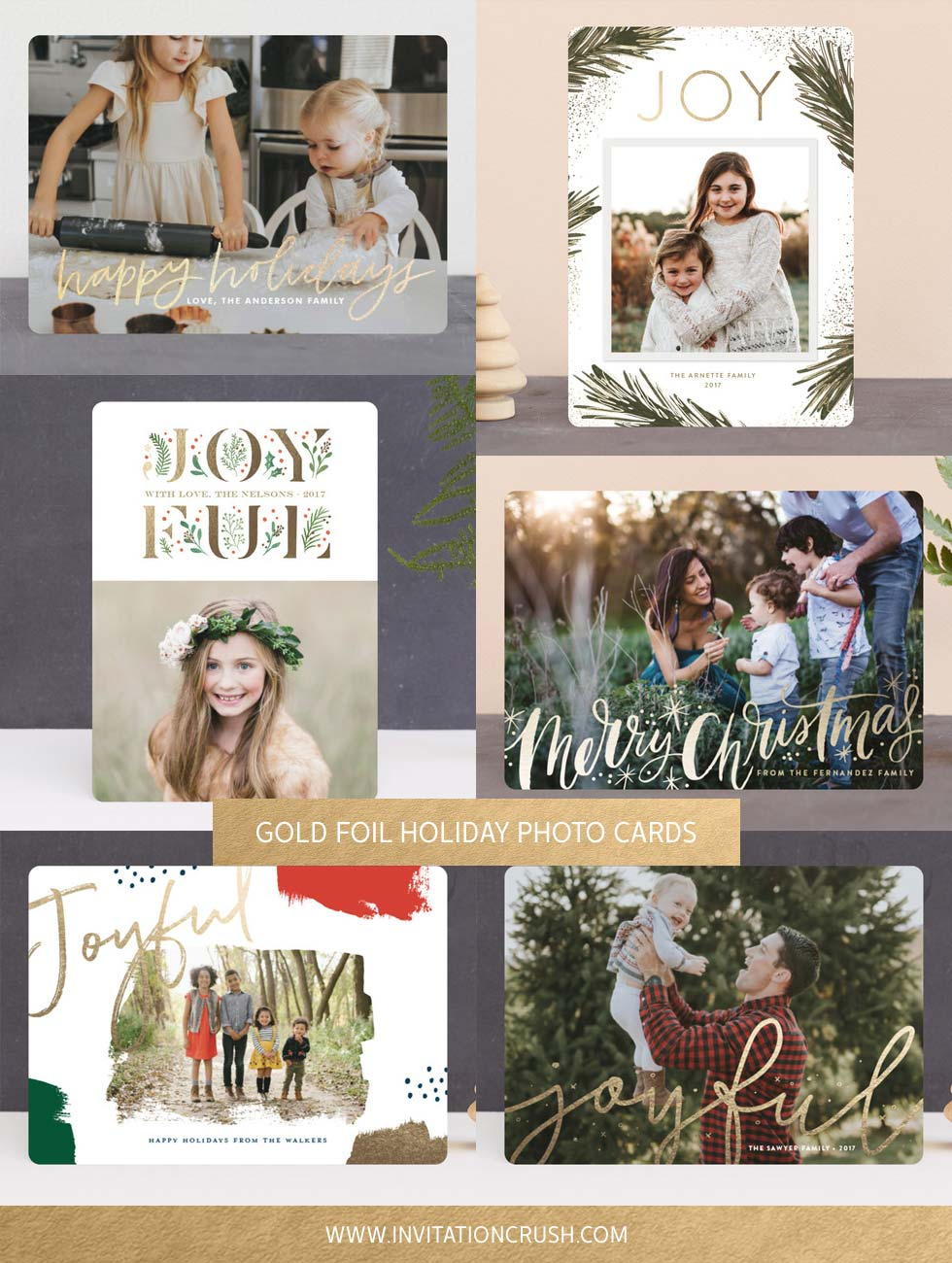 Gold Foil Holiday Photo Cards // Invitation Crush #holidaycards