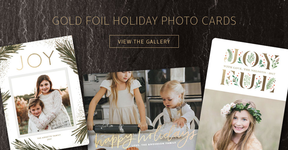 Gold Foil Holiday Photo Cards Inspiration Gallery